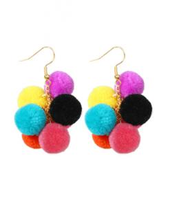 statement oorbellen, groot, pom pom, oorhangers, sieraden, dames, accessoires, kleurrijk, gekleurde oorbellen