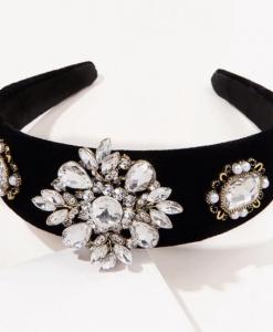 zwarte haarband, dames, haaraccessoires, diamanten, kristallen, feest, accessoires, dames