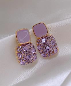 diamanten oorbellen, strass, kristallen, zirkonia, sieraden, dames, accessoires, paars