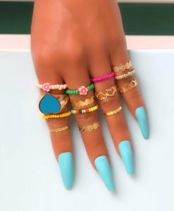 ringen set, kralen, dames, sieraden, accessoires, goud, zomer