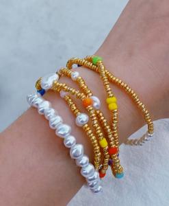 armbanden set, kralen, parels, goud, sieraden, dames, accessoires
