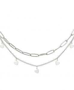 dubbele ketting, hartjes, sieraden, dames, accessoires, stainless steel, roestvrij staal, nikkelvrij, laagjes, layer