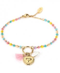gekleurde armband, schakelarmband, sieraden, dames, accessoires, kralen, stainless steel, roestvrij staal, nikkel vrij