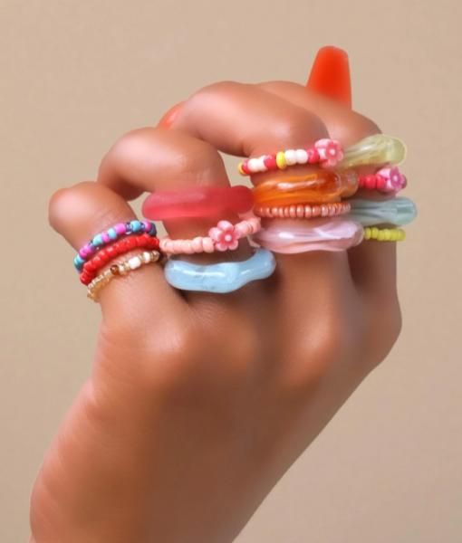 Gekleurde Ringen Set Bloemen