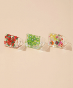grote ringen set, fruit, transparant, hars, plastic, sieraden, dames, accessoires, zomer, aardbei