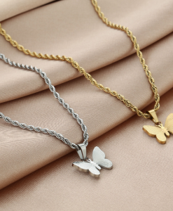 ketting met hanger, vlinder, sieraden, dames, stainless steel, roestvrij staal, nikkelvrij