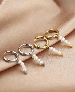 oorbellen met hanger, parels, sieraden, dames, accessoires, goud, zilver, stainless steel, roestvrij staal, nikkelvrij