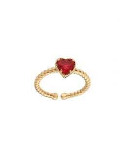 ring met hartje, diamant, zirkonia, kristal, stainless steel, nikkelvrij, sieraden, roestvrij staal, accessoires, rood