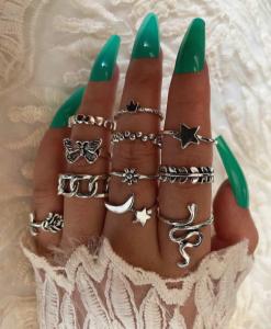 ringen set, zilver, sieraden, dames, accessoires, mooi, leuk, slang