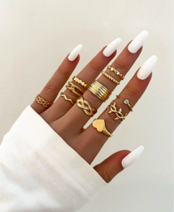 ringen set, hartje, goud, dames, sieraden, accessoires, leuke, mooi, goedkoop