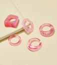 ringen set, roze, sieraden, dames, accessoires, hars, plastic, zomer