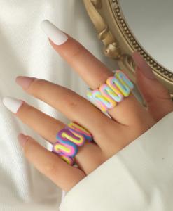 ringen set, sieraden, dames, accessoires, gekleurde ringen
