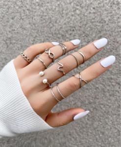 ringen set, zilver, sieraden, dames, accessoires, cadeau