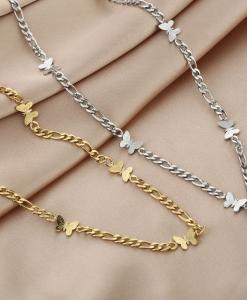 schakelketting, vlinder, stainless steel, sieraden, dames, accessoires, roestvrij staal, nikkelvrij, chain, goud, zilver