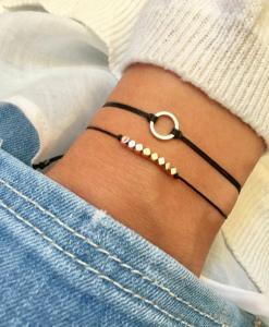 zwarte armbanden, set, sieraden, kralen, dames, accessoires, goud