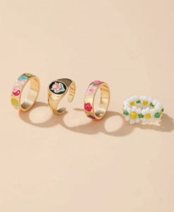 ringen set, sieraden, dames, accessoires, goud, gekleurde ringen, zomer, lente
