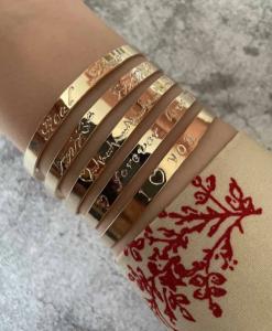 armbanden met tekst, set, sieraden, sierlijk, dames, accessoires, cadeau, goud