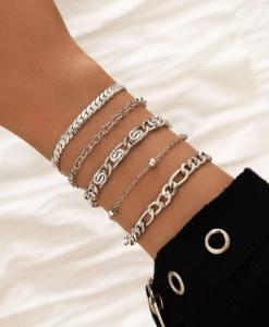 armbanden set, chain, schakel, armcandy, armparty, sieraden, dames, accessoires