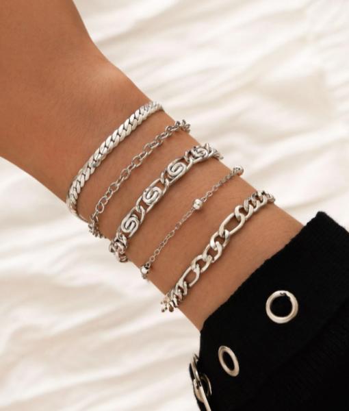 Armbanden Set Chain, Zilver