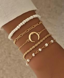 armbanden set, maan, wit, sieraden, dames, accessoires, goud, kralen