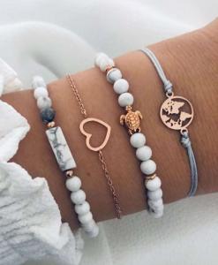 armbanden set, marmer, goud, sieraden, dames, accessoires, kralen, schildpad, hartje, wereldkaart