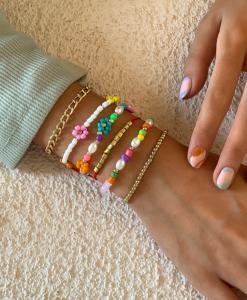 armcandy, armbanden set, bloemen, goud, sieraden, dames, accessoires, kralen, gekleurde, kleurrijke