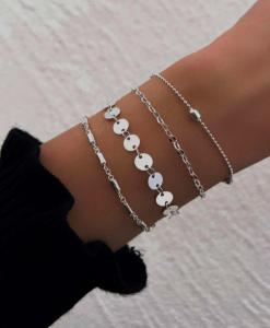 dunne armbanden set, munt, sieraden, dames, accessoires, fijne, minimalistische