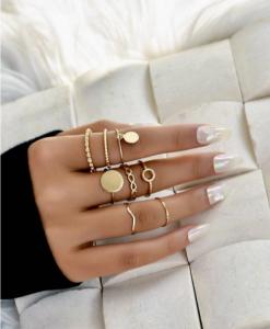 gouden ringen set, munt, minimalistische, fijne, subtiele, sieraden, dames, accessoires