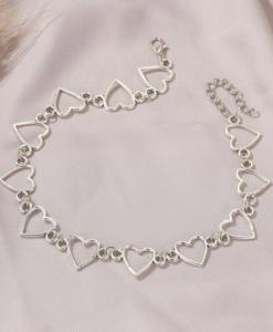 korte ketting, choker, halsketting, ketting, hartjes, liefdes, zilver, sieraden, dames, accessoires, goedkoop