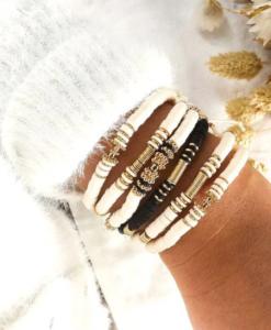 kralen armbanden, set, zwart, wit, sieraden, dames, accessoires