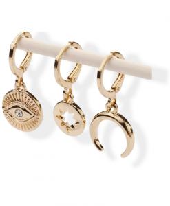 oorbellen set van 3, hanger, bedel, oog, maan, ster, sieraden ,dames, accessoires