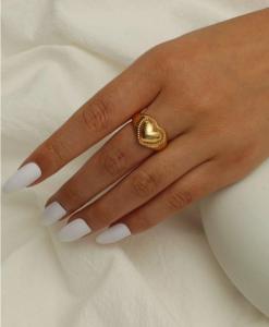 ring, hartje, goud, sieraden, dames, accessoires, mooi, leuk, liefdes, vriendin