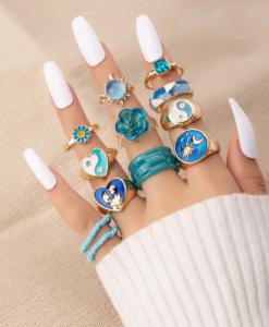 ringcandy, ringparty, ringen set, blauw, sieraden, accessoires, leuk, mooi