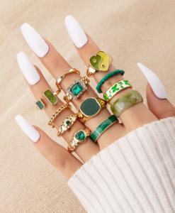 ringcandy, ringen set, sieraden, accessoires, groen, goud, ringparty