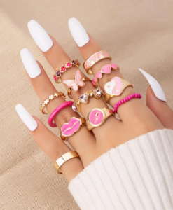 ringcandy, ringen set, roze, goud, sieraden, accessoires, vlinder, ringcandy, ringparty, leuk, mooi