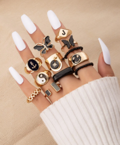 ringen set, ringcandy, ringparty, sieraden, dames, accessoires, zwart