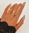ringen set, sieraden, dames, accessoires, goud, leuk, mooi, hippe, cadeau, vriendin, hartje, knoop, fijn, minimalistische