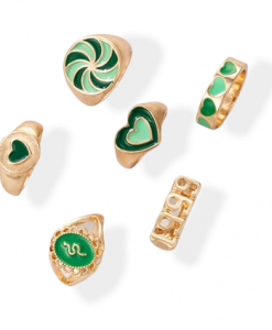 ringen set, hartje, groen, sieraden, slang, dames, accessoires, cadeau, leuk, mooi