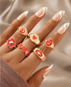 ringen set, hartje, rood, goud, sieraden, dames, accessoires, yin yang, kleur, kers