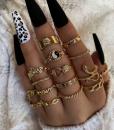 ringen set, sieraden, dames, accessoires, goud, yin yang, slang, zon, acccessoires