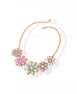 statement ketting, bloemen, goud, diamanten, zirkonia, kristallen, sieraden