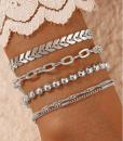 zilver, armbanden set, chain, dames, accessoires