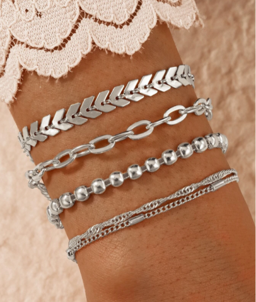 Zilveren Armbanden Set, Chain