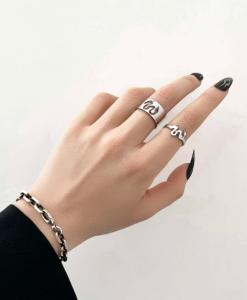 zilver, ringen set, draak, sieraden, dames, accessoires, hippe, leuke, mooi