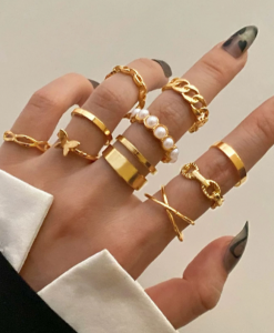 ringen set, goud, sieraden, minimalistische, fijn, subtiel, accessoires, parels