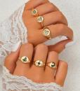 zegelringen, set, dames, sieraden, accessoires, goud, zilver